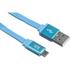 Kit USB to Micro USB Data & Charge Flat Cable - Metallic Blue: Image 1
