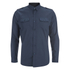 Brave Soul Men's Charlie Pocket Long Sleeve Shirt - Navy: Image 1