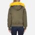KENZO Women's Removable Yellow Fur Lined Short Parka - Dark Khaki: Image 3