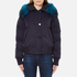 KENZO Women's Removable Navy Fur Lined Short Parka - Midnight Navy: Image 1