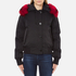 KENZO Women's Removable Red Fur Lined Short Parka - Black: Image 1