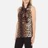 Boutique Moschino Women's Tie Neck Top - Leopard: Image 2