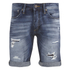 Jack & Jones Men's Rick Original Distressed Denim Shorts - Mid Wash: Image 1