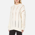 Alexander Wang Women's Crew Neck Cable Long Sleeve Jumper with Intarsia Slits - Bone: Image 2