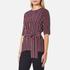 Ganni Women's Donaldson Silk Tie Blouse - Cabernet Stripe: Image 2