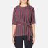 Ganni Women's Donaldson Silk Tie Blouse - Cabernet Stripe: Image 1