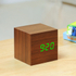 Gingko Cube Walnut Click LED Clock - Green: Image 2