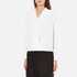 Paisie Women's Wrap Blouse with Pleated Neck - White: Image 2