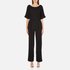 Paisie Women's Half Sleeve Jumpsuit with Low V Back - Black: Image 1