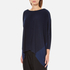 Paisie Women's Relaxed Fit Top with Chiffon Side Panel - Navy: Image 2