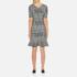 Boutique Moschino Women's Tweed Print Short Sleeve Peplum Dress - Black: Image 3