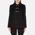 Boutique Moschino Women's Pea Coat with Gold Buttons - Black: Image 1