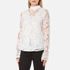 Perseverance Women's 3D Embroidered Paisley Top with Bell Sleeves and High Collar - White: Image 2
