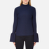 Perseverance Women's Long Sleeve Crepe T-Blouse with Frill Cuff - Navy: Image 1