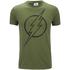 DC Comics Mens The Flash Line Logo T-Shirt - Military Green: Image 1