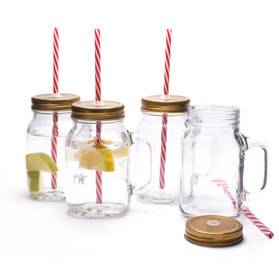 Mason Jar Mug Glasses Set Of 4 Traditional Gifts TheHutcom