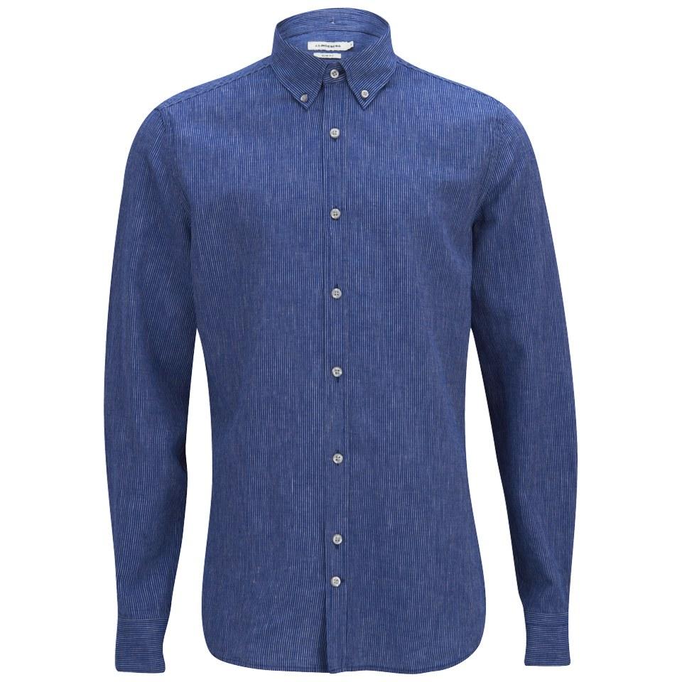 J lindeberg men 39 s dani button down linen stripe long for Striped button up shirt mens