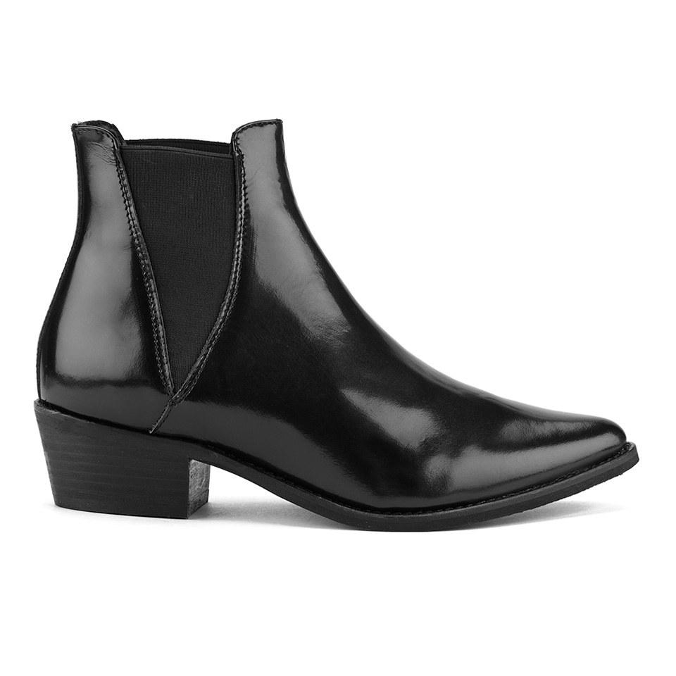 Fantastic  WomensHighBlockHeelPointedChelseaAnkleBikerBlackBootsShoes