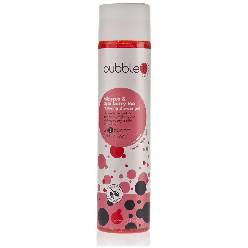 bubble t bath and body shower gel in hibiscus and acai