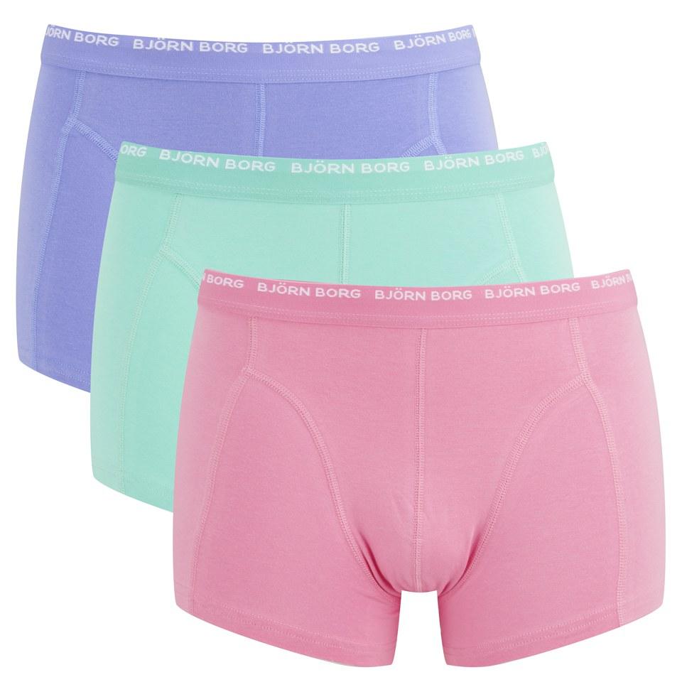 Bjorn Borg Mens 3 Pack Boxer Shorts Sachet Pink Mens
