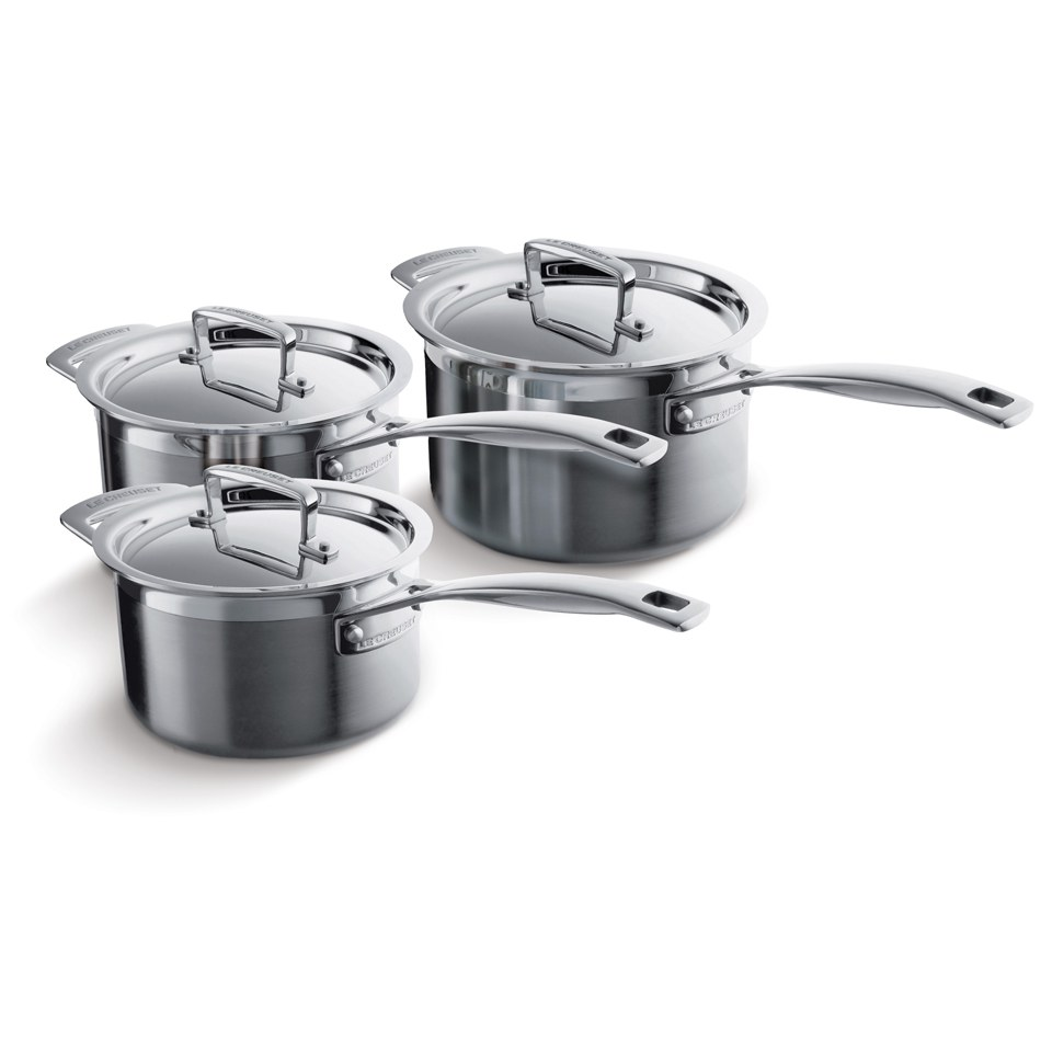 le creuset 3 ply stainless steel 3 piece saucepan set iwoot. Black Bedroom Furniture Sets. Home Design Ideas