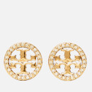 Tory Burch Women's Pave Logo Circle-Stud Earrings - Tory Gold/Crystal