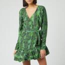 ROTATE Birger Christensen Women's Nancy Mini Wrap Dress - Stone Green