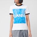 Ganni Women's Logo Graphic Print T-Shirt - White