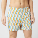 Frescobol Carioca Men's Tailored Mosaique Swim Shorts - Mandarin/Off White