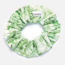 Ganni Women's Printed Crepe Scrunchie - Island Green