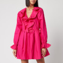 Self-Portrait Women's Fuchsia Cotton Poplin Mini Dress - Fuchsia