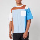 White Mountaineering Men's Stripe Contrasted T Shirt - Blue