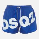Dsquared2 Men's Large Logo Swim Shorts - Blue/White