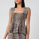 Ganni Women's Leopard Print Silk Blend Top - Leopard