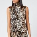 Ganni Women's Silk Stretch Satin Top - Leopard