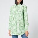 Ganni Women's Printed Cotton Poplin Shirt - Island Green