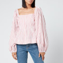 Ganni Women's Stripe Cotton Shirt - Lollipop