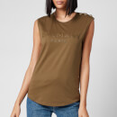 Balmain Women's 3 Button Bronze Logo Tank Top - Khaki