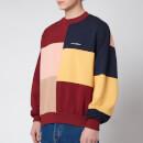Drôle de Monsieur Men's Color Block Sweatshirt - Burgundy