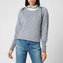 See by Chloé Women's High Frill Neck Jumper - Blue White
