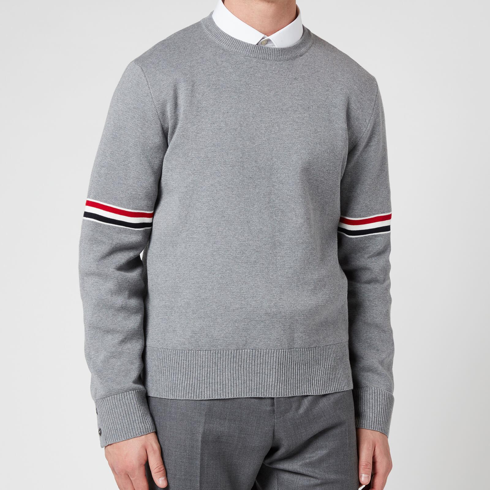 Thom Browne Men's Tricolour Stripe Crewneck Jumper - Light Grey - Free UK Delivery Available