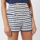 Balmain Women's High Waisted Shorts with Signature Stripe - Blue