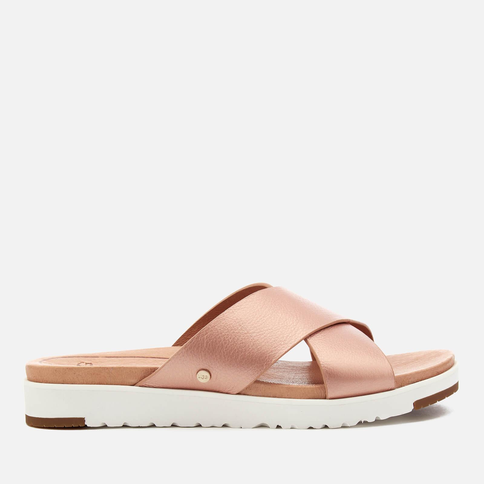 Ugg Women S Kari Metallic Cross Strap Slide Sandals Rose Gold Free Uk Delivery Allsole