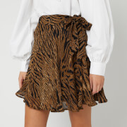 Ganni Women's Printed Georgette Mini Skirt - Tiger