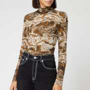 Ganni Women's Printed Mesh Top - Tiger's Eye