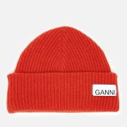 Ganni Women's Knitted Beanie - Fiery Red