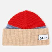 Ganni Women's Knitted Colour Block Beanie - Fiery Red