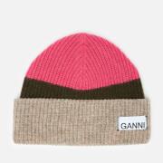 Ganni Women's Knitted Colour Block Beanie - Hot Pink