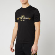 Emporio Armani Men's Gold Chest Logo T-Shirt - Black