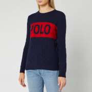 Polo Ralph Lauren Women's Juliana Logo Long Sleeve Sweater - Hunter Navy/Fall Red